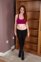 Hairy Redhead Jenny Smith Strips Off Black Yoga Pants